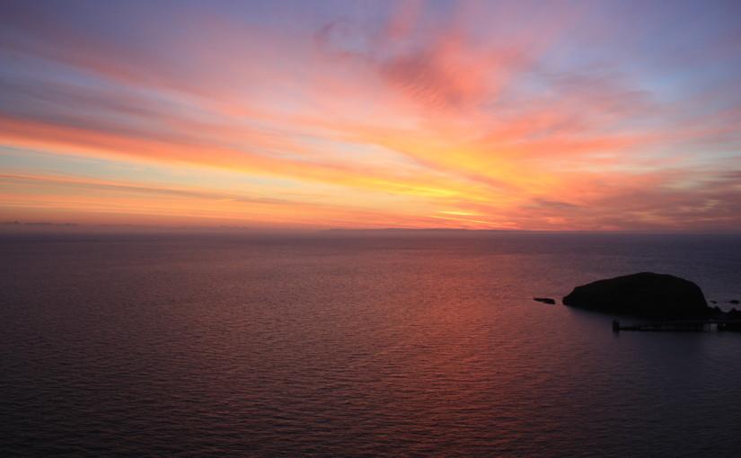 sunset rock water